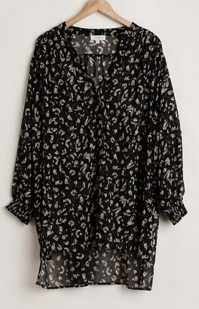 Black Leopard Tunic