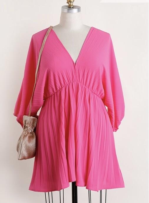 Plus Hot Pink Balloon Sleeve Dress