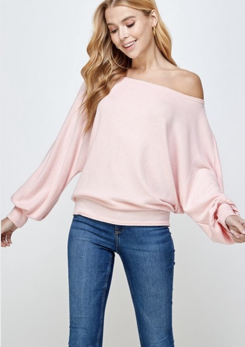 Light Pink Brushed Sweater Top