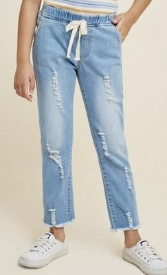Soft Denim Drawstring Jeans