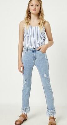 Frayed Hem Denim Distressed Jeans
