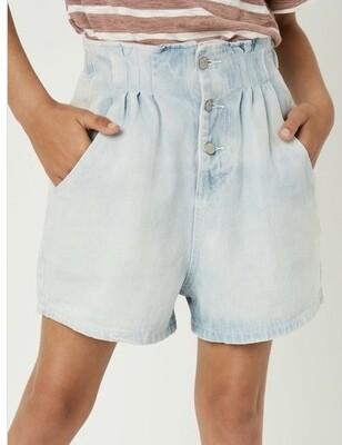 Light Denim Paperbag Shorts