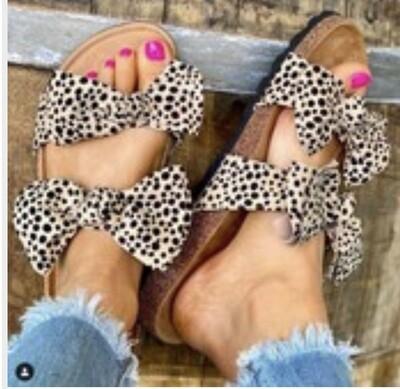 Leopard Frill Sandals