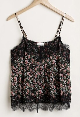Black English Floral Top