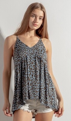 Blue Leopard Mix Top
