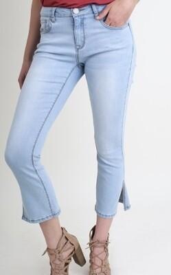 Light Denim Split Hem Jeans