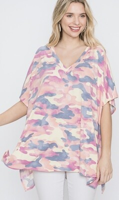 Pink Mix Boxy Camo Top