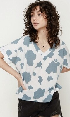 Spotted Blue Print Top
