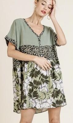 Animal Print Palms Dress