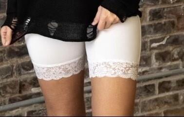White Biker Lace Biker Shorts