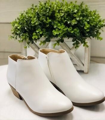 White Crop Booties
