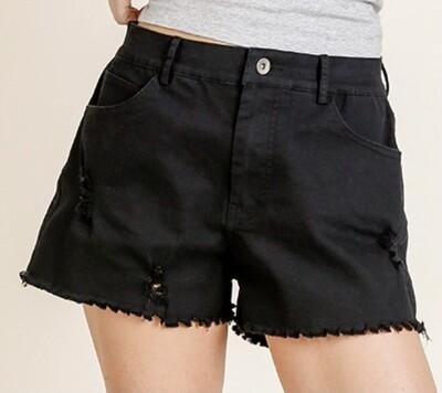 Black Frayed Hem Shorts