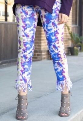 Color Explosion Tie Dye Fringe JEans