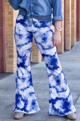 Blue Tie Dye Flares