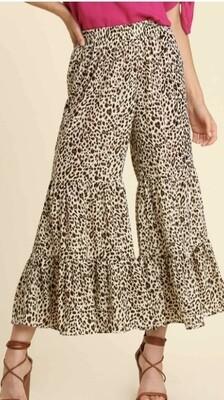 Natural Leopard Ruffle Pants