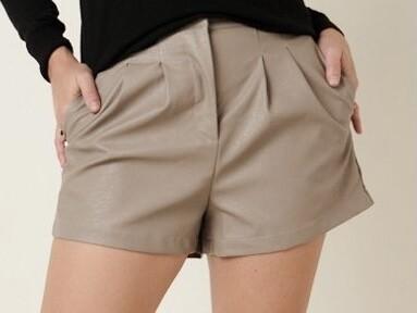 Taupe Leather Like Shorts