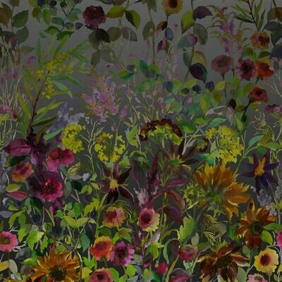 DESIGNERS GUILD - Indian Sunflower Graphite Panoramic Wallpaper