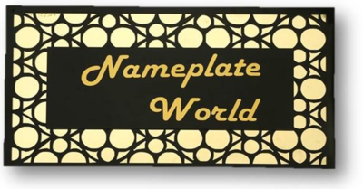 FNP Personalized Acrylic Name Plate Black & Golden Jali 8x16 - By FancyNamePlates.com