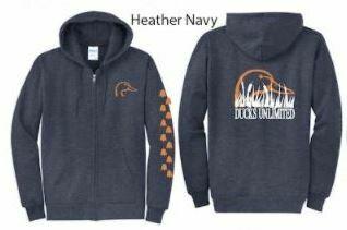 Zip Up - Heather Navy/Orange