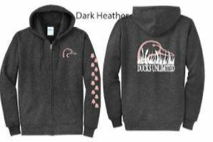 Zip Up - Dark Heather/Pink