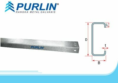 Purlin (PR) 243 - C125.125x6000MM Tebal bahan tct 1,25mm.