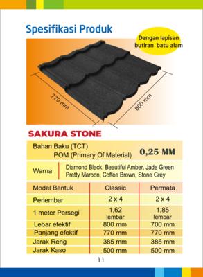 Sakura classic stone warna hitam 2x4 tebal tct 0,25mm