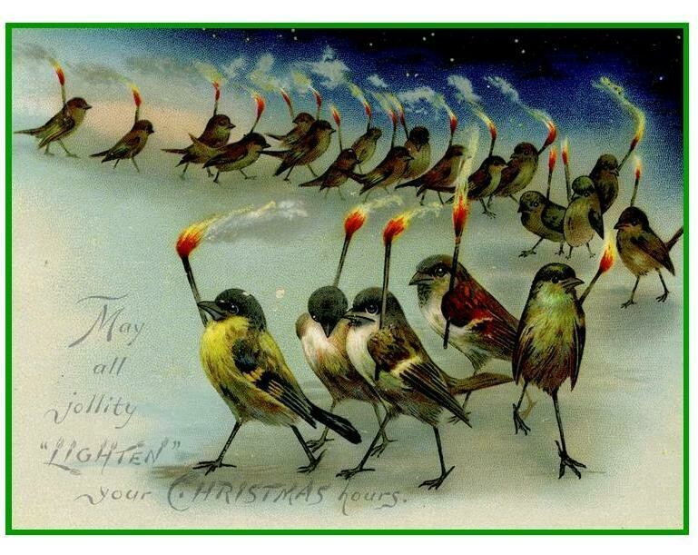 Florence Historical Archive Christmas Cards 2020 -Birds on Parade  Package of 8 cards