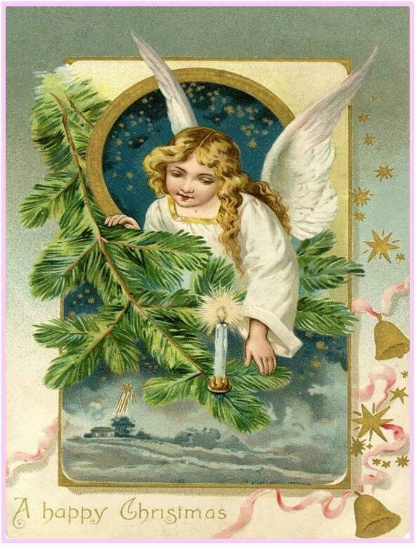 Florence Historical Archive Christmas Cards - Victorian Angel Package of 8 cards