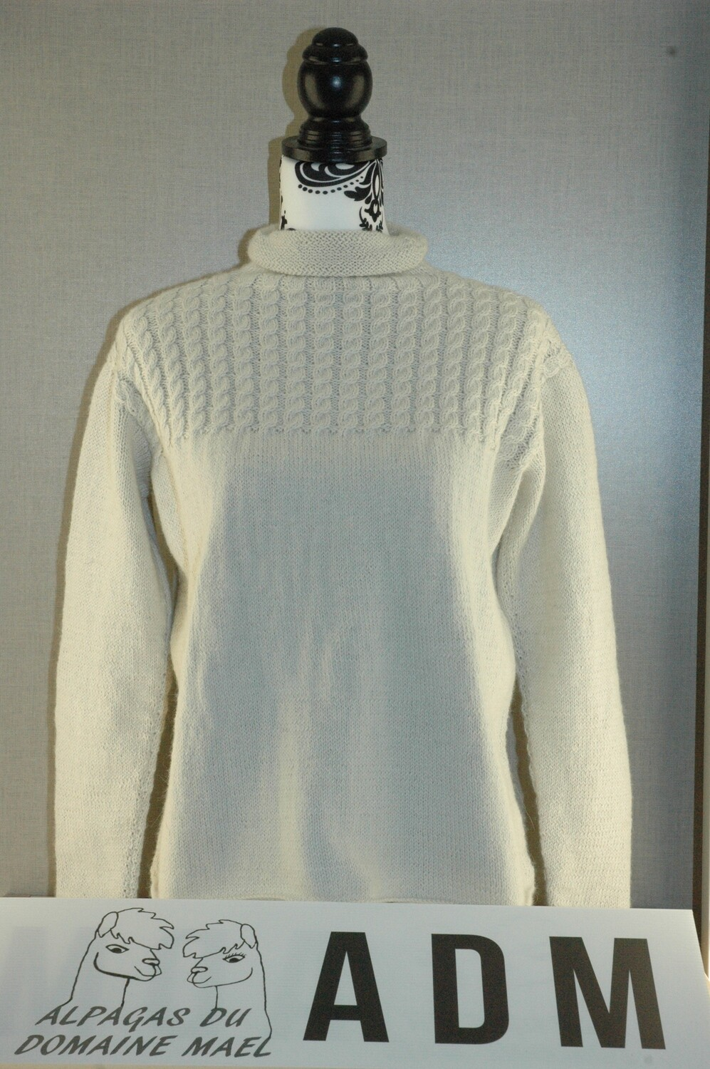 Pull écru femme col montant Taille S