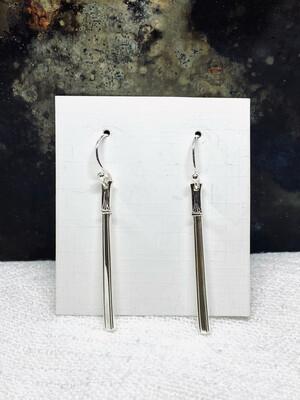 Lange sølvbestikk ørepynt