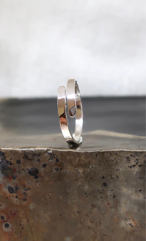 Flat sølvgaffel ring