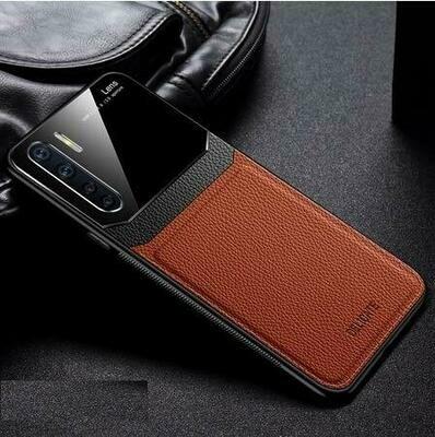 Realme 6 Pro, PlexiGlass & Faux Leather Back Cover Case for Realme 6 Pro (Elegant Brown)