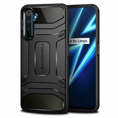 Realme 6 Pro MIL-STD 810G Officially Drop Tested Solid Black Shock Proof Slim Armor Patent Design (Only for Realme 6 Pro)- Black