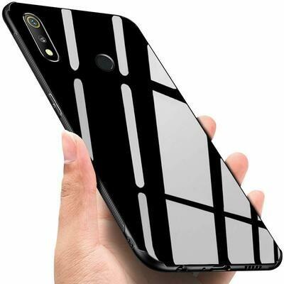 Realme 3 pro Glass Case, Luxurious Soft Edge Protective TPU Bumper Stunning Design Glass Back Cover for Realme 3 pro -(Black)