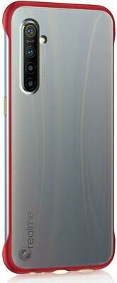 Maggzoo Ultra Thin Frameless Matte Transparent Buckle Back Cover Case for Realme C3 (Red)