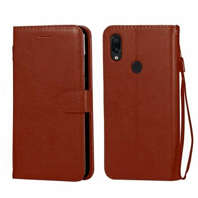 Leather Flip Cover for Realme 3 Pro with Foldable Stand & Cards Slots - Brown