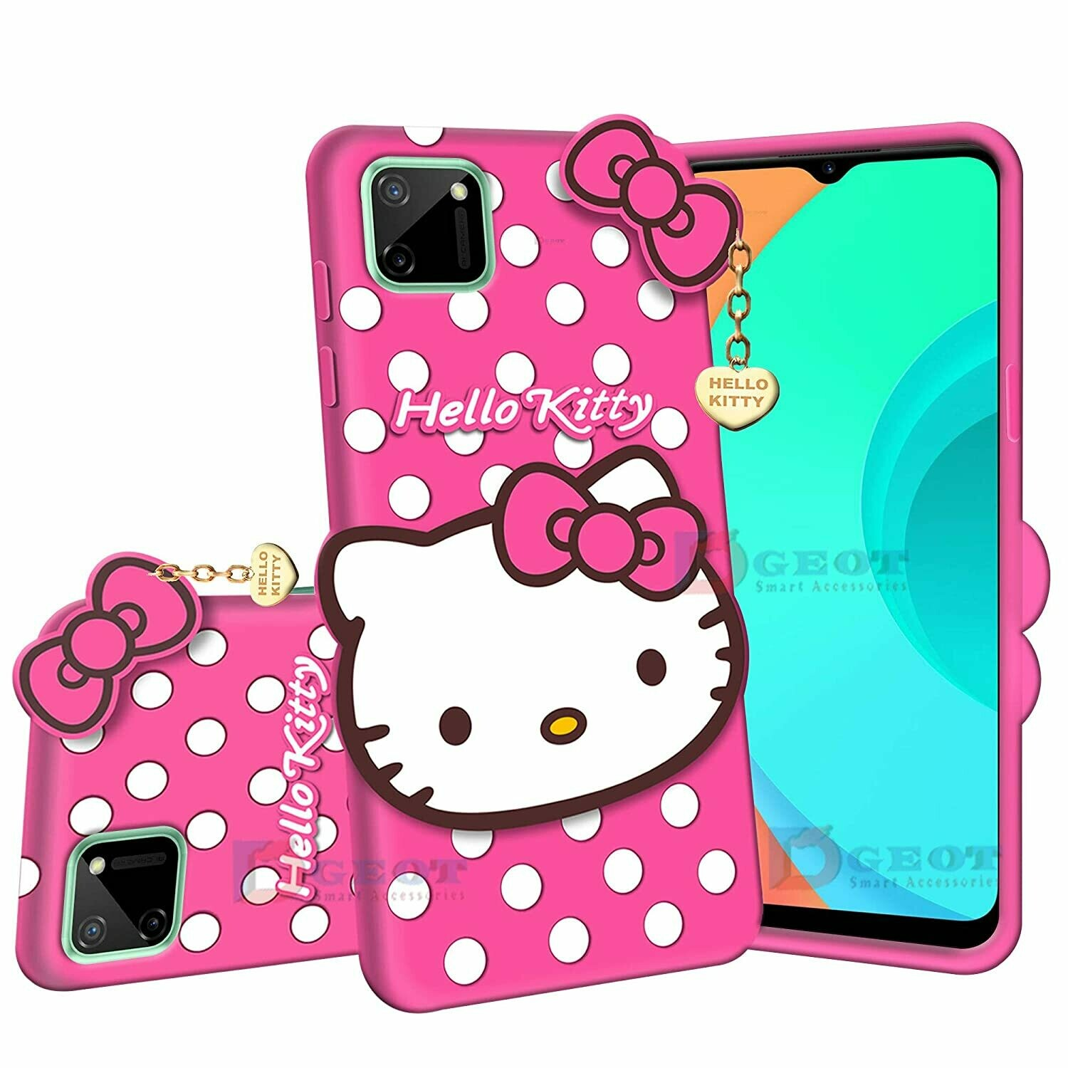 Hello Kitty Back Case Cover Compatible with Realme C11 - | 3D Cute Hello Kitty | Soft Silicone Rubber | Girls Favourite | with Pendant Compatible for Realme C11 -Pink