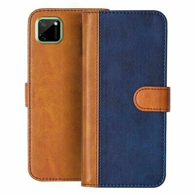 Leather Flip Cover for Realme C11 with Foldable Stand & Cards Slots - Multicolor