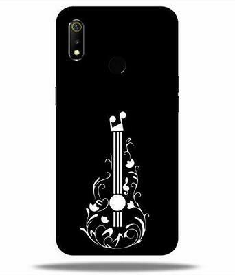 Printed Colorful Floral Guitar, Black, Music Love Hard Back Case Cover for Realme  3i (Multicolour)