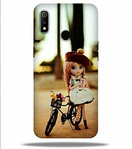 Realme 3i Printed Beautyful Baby Girl with Bicycle Designer Hard Back Case Cover for Oppo
