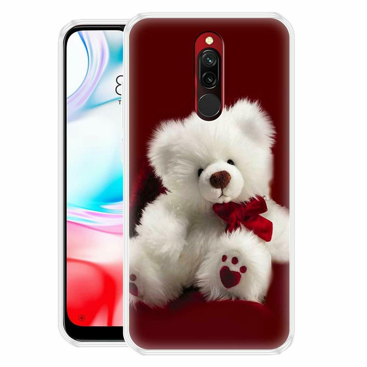 White Teddy Printed Mobile Back Cover for Xiaomi Redmi 8 (Slim Fit, Durable)(Multicolor)