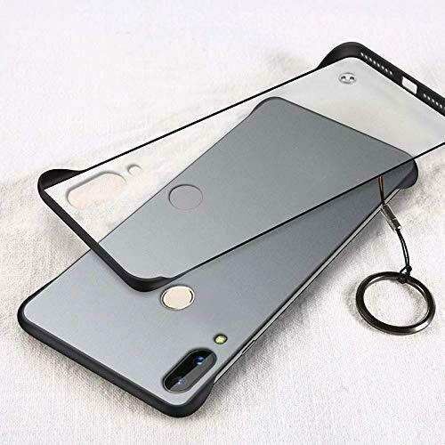 Metal Ring Transparent Matte Texture Hard PC Bumper Corners Back Cover Case for Xiaomi Redmi Note 7 Pro/Note 7 / Note 7S - Black