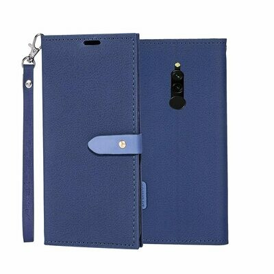 Slim Wallet Flip Cover for Mi Redmi 8 Blue