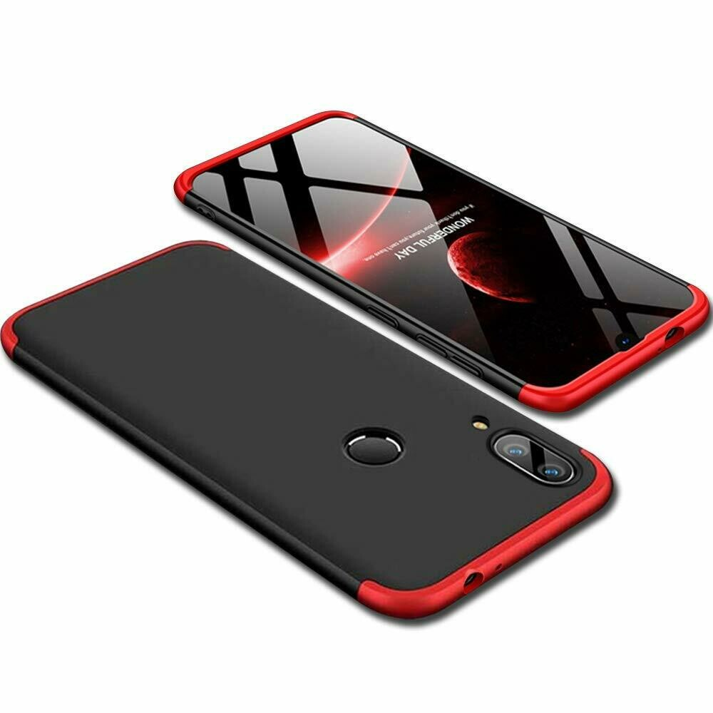 360° Full Body Protection Anti Slip Slim Fit Hard Back Case Cover for Redmi Note 7/7s/7 Pro (Black & Red)