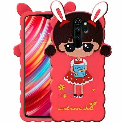 3D Doll Kitty Case Cover Compatible with Redmi Note 8 Pro - (Soft Rubber Silicone Cute Doll Design Hello Kitty Back Cover for Redmi Note 8 Pro) - Baby Pink