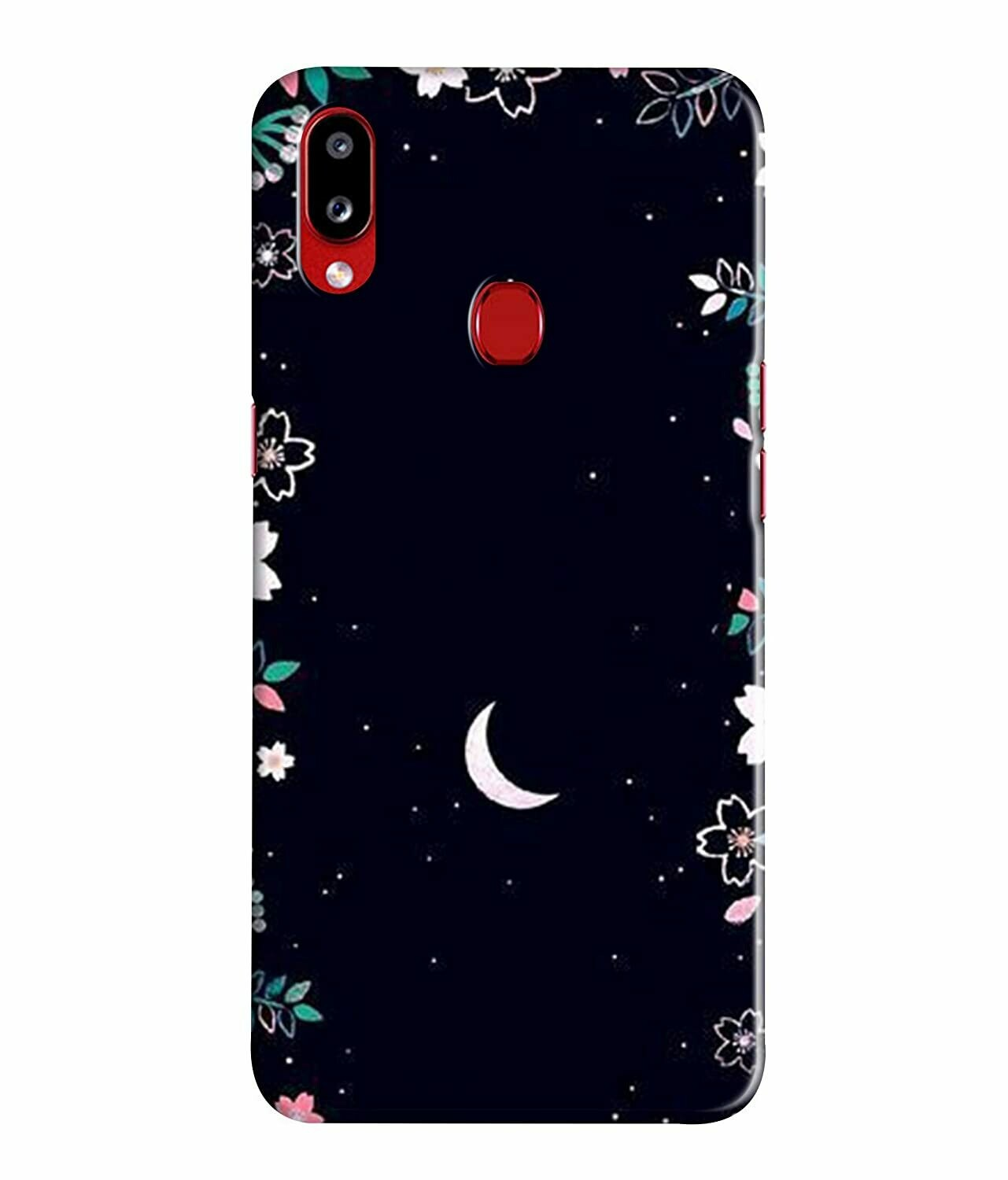 Printed Colorful Moons Between Flowers, Night Love Designer Back Case Cover for Samsung Galaxy M20 (Multicolour)