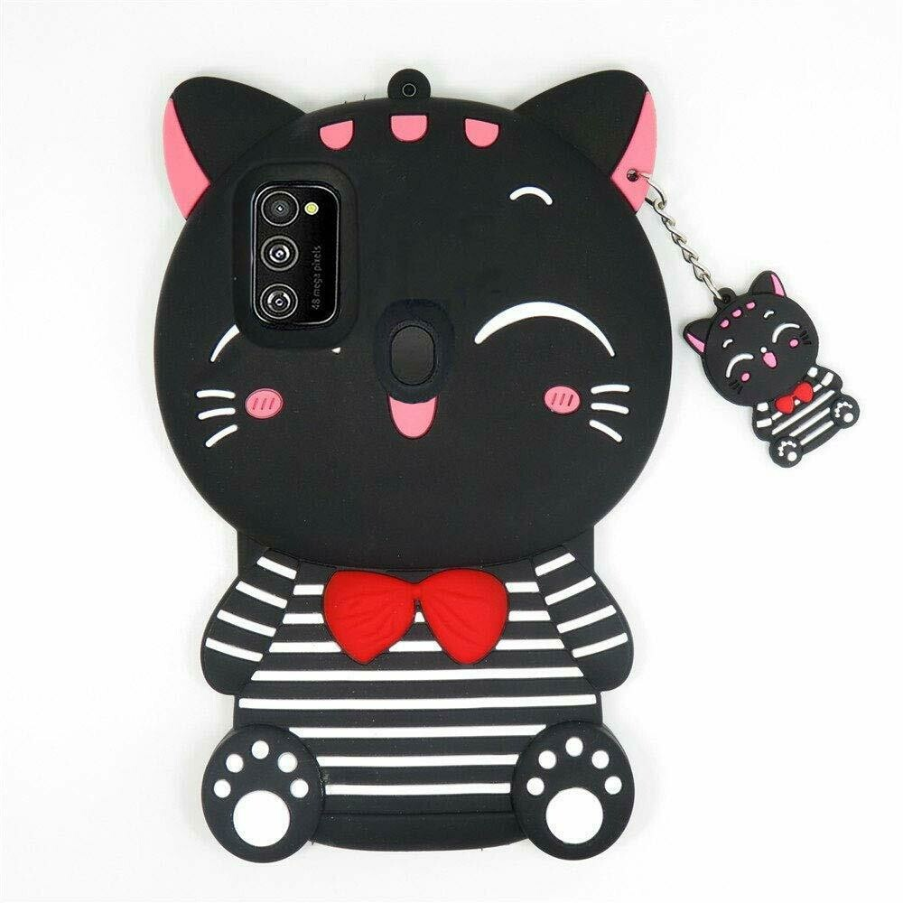 Cartoon Lucky Bow Cat Soft Bumper Silicone Shockproof Back Cover for Samsung Galaxy M21 (Black)