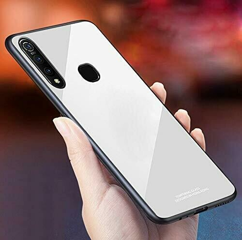 Tempered Glass Back Cover with TPU Frame Protection Case/Cover Designed for Vivo Z1 Pro - (White)