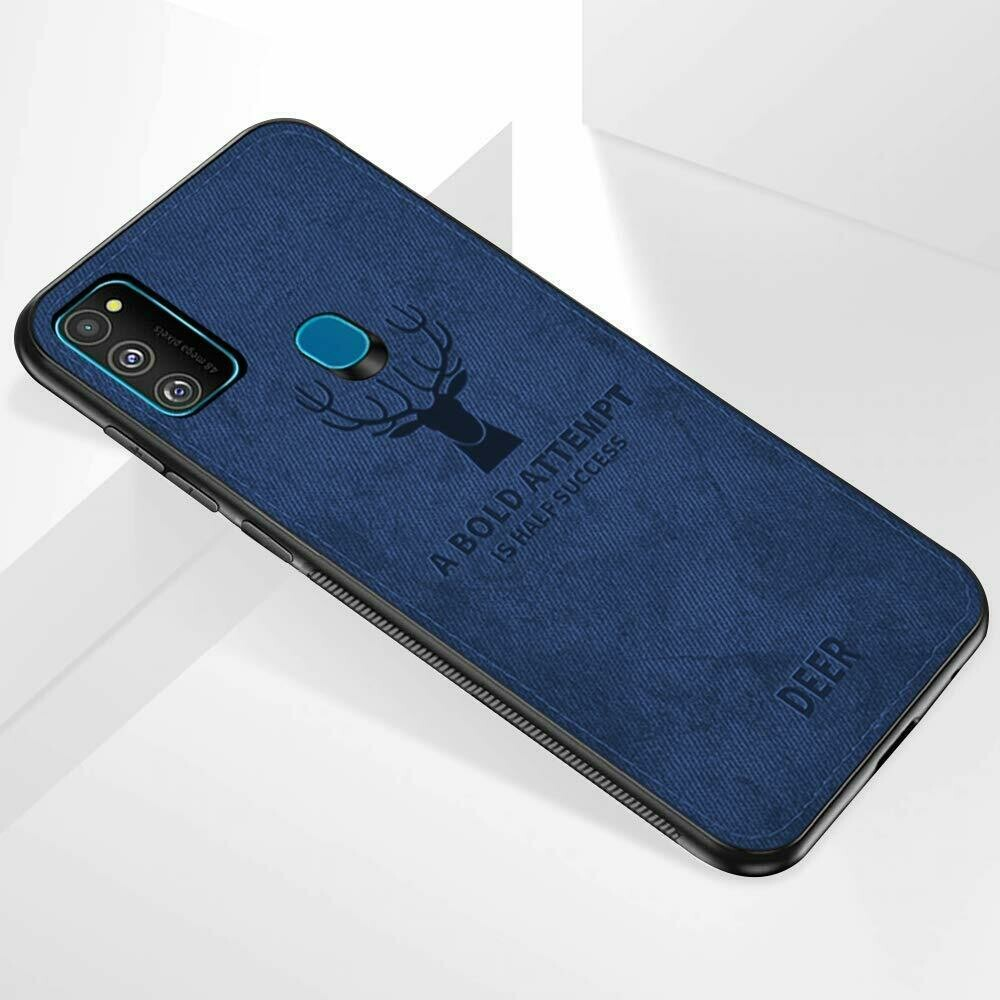 Soft Jeans Fabric Shockproof Protective Back Case Cover for Samsung Galaxy M31 (Blue)