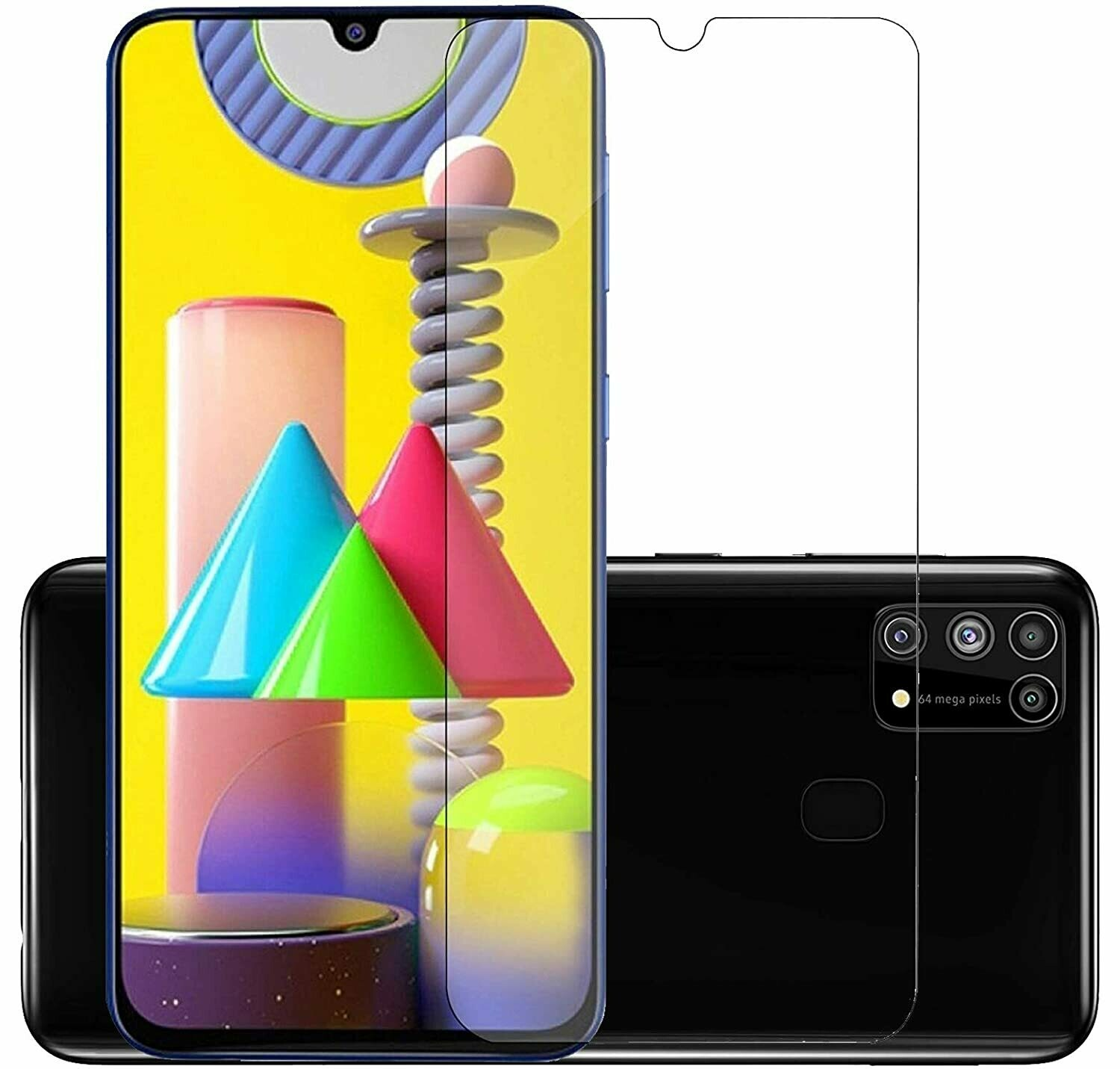 Tempered Glass Screen Guard for Samsung Galaxy M31 Prime, F41, M21, M31, M30s, M30 (Transparent) Full Screen Coverage (Except Edges)
